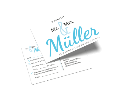 "Antwortkarte ""Mr and Mrs"""