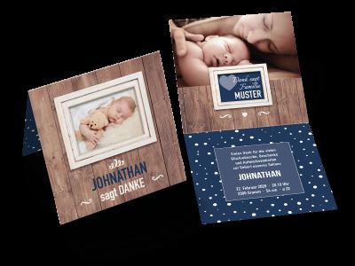 """Danksagungskarte zur Geburt """"Eingerahmt"""""""