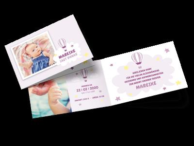 """Danksagungskarte zur Geburt """"Ballonfahrt"""""""