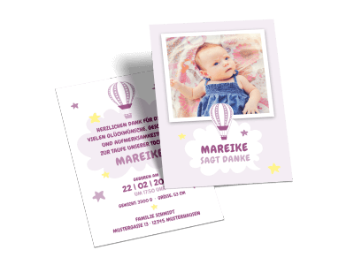 "Danksagungskarte zur Taufe ""Ballonfahrt"""