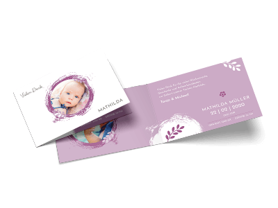 """Danksagungskarte zur Geburt """"Hello world"""""""