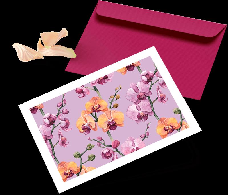 Passender Briefumschlag in purpurrot