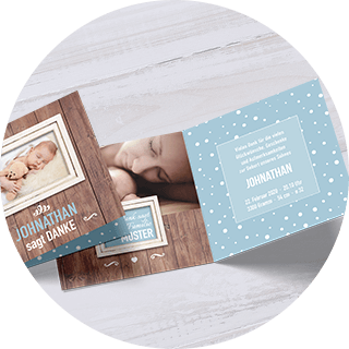 Pastellblau-farbene Dankeskarten zur Geburt