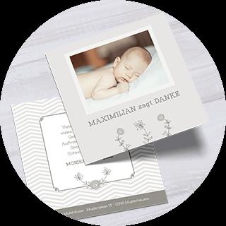 Dankeskarten zur Geburt mit Bildern