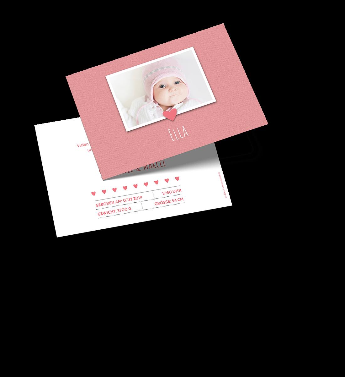 Geburtskarte als Postkarte im Querformat