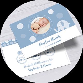 Geburtskarten in Marienblau