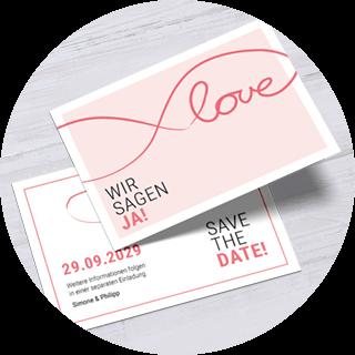 Save-the-Date-Karten in Koralle